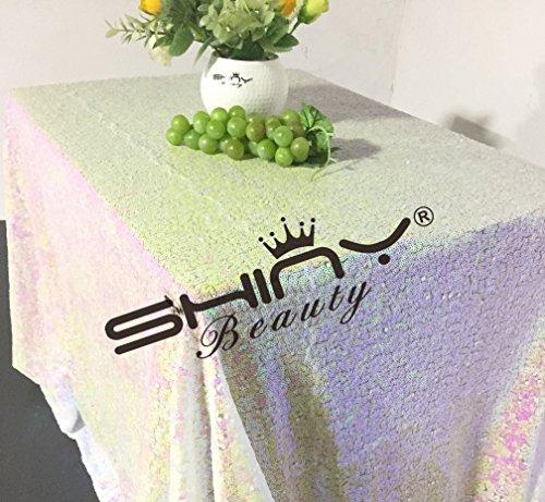 shinybeauty Geändert weiß 48x 183cm Pailletten Tischdecke Rechteck Pailletten Tischdecke für Hochzeit Party (Glitter Leinen Tischdecke)