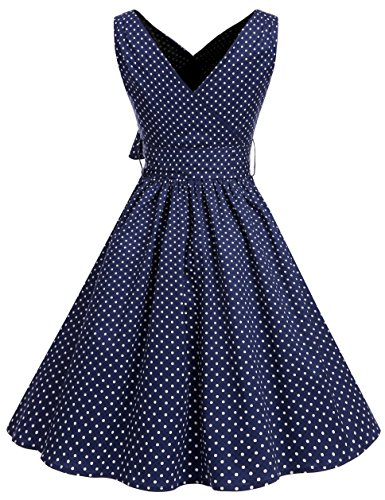 Bbonlinedress 50er Retro V-Ausschnitt Vintage Rockabilly Cocktailkleider Navy White Small Dot XL - 3