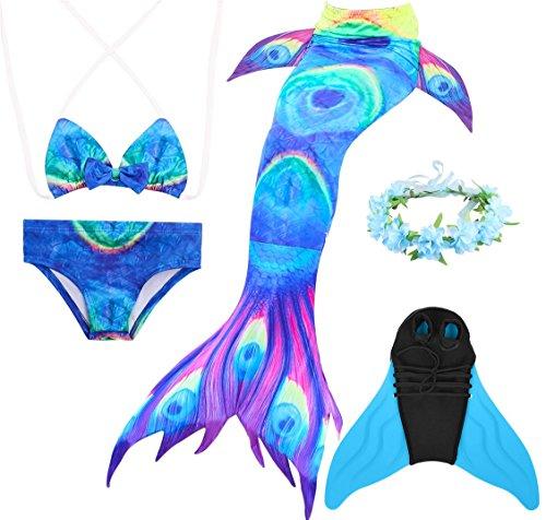 Superstar88 Mädchen Cosplay Kostüm Badebekleidung Meerjungfrau Shell Badeanzug 3pcs Bikini Sets mit Einer Flosse und Einer Kränze Tolle Geschenksidee ! (150, Pfauen Blau)