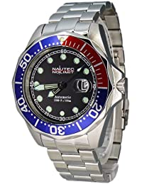 Nautec No Limit Herren-Armbanduhr Deep Sea Bravo Analog Automatik DSB AT/STSTRDBLBK