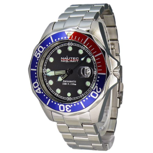 Nautec No Limit Herren-Armbanduhr Deep Sea Bravo Analog Automatik DSB AT/STSTRDBLBK