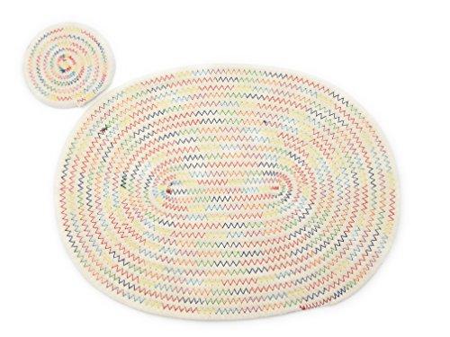 Salvamanteles XYZ IDEA Posavasos Redondo y Salvamanteles Ovalado a Juego, Espiral de Cuerda Blanca Algodón Moderno Cosido Multicolor