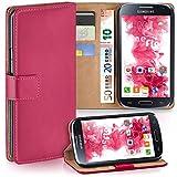 moex Samsung Galaxy S4 | Hülle Pink mit Karten-Fach 360° Book Klapp-Hülle Handytasche Kunst-Leder Handyhülle für Samsung Galaxy S4 / S IV Case Flip Cover Schutzhülle Tasche