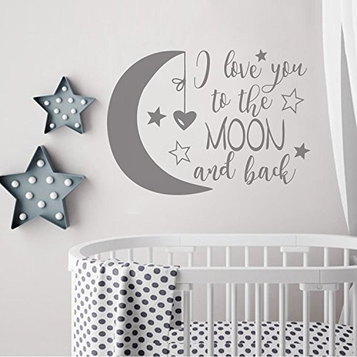 lafzimmer I Love You To The Moon and Back- Moon and Stars Wall Sticker Baby Nursery Wall Decor - Kids Room Wall Decal Quotes - Baby Crib Wall Decor(dark gray, 16