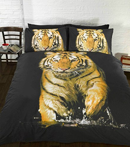 Zoo Wild Animals Orange Yellow Tiger Duvet Double Bed Size Cover Quilt Bedding Set