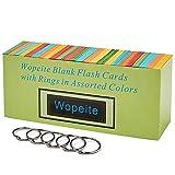 Wopeite Scheda flash vuota Scheda indice Anello in colori assortiti 1000 schede indice singolo foro perforato con 5 anelli, 7.8 * 5.4CM