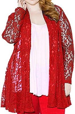 Tongshi Escudo Señora todas partes floral del hueco del cordón de la rebeca top de la blusa de la chaqueta de gran tamaño