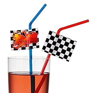 Tarjeta Susy 11348232 - pajitas de beber, Racing con el campo nombre, 10 piezas, azul/rojo