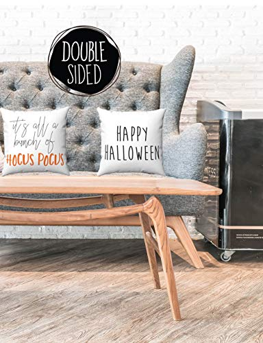 Prz0vprz0v Set of 2 Happy Halloween It's All Just A Bunch of Hocus Pocus, Spun Polyester Square Pillow Case 18 x 18 Inch (Halloween Hocus Pocus Happy)