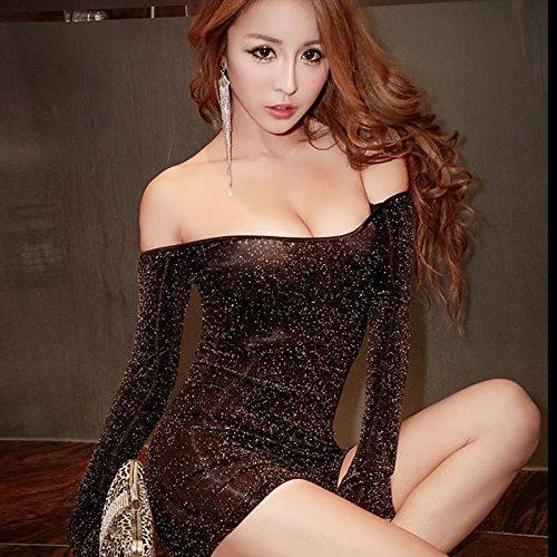 SQDQNUR-lingerie sexy donna mutandine nighty due maniche lunghe spegnere la spalla vestito night club uniformi,160(M),Golden