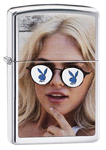 Zippo Unisex-Playboy Girl mit Bunny Head Gläser Winddicht Leichter, hoch poliert Chrom, One Size -
