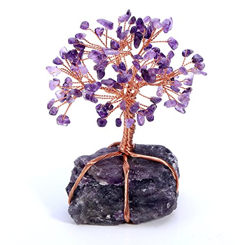 JSDDE - Lucky Tree, Crystal Natural healing stone, Office Spiritual decoration, Living Room (5,1-6,3 Inches), Amethyst