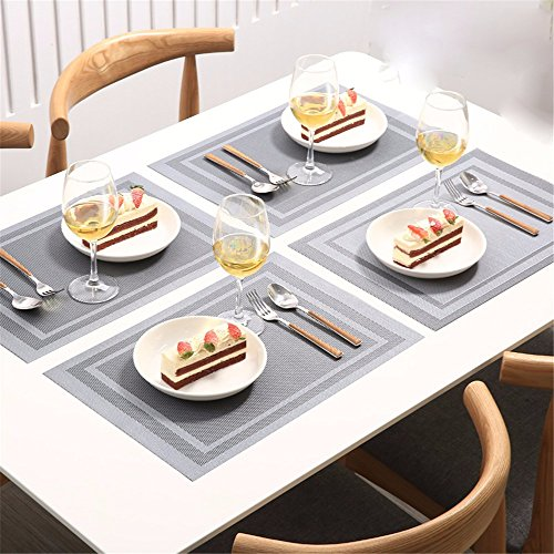 XXSZKAA Creative Grand Carré De Conception De Table Mat Européen De Style PVC Isolation Coussin Rectangulaire Simple Table Coussin Coussin Mat 4 Piece, D 4 Piece, 45 * 30 Cm