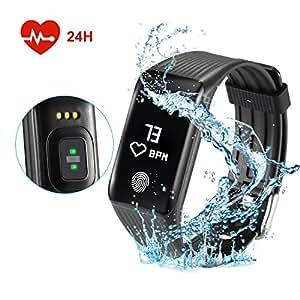 Fitfirst smart watch braccialetto intelligente orologio Cardiofrequenzimetro da Polso Contapassi Braccialetto Pedometro per uomo donna e bambini.