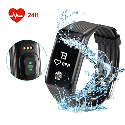 Fitfirst Inteligente Pulsera Fitness Tracker Reloj Inteligente Monitor de Pulso Cardiaco Impermeable 67 GPS para Correr Pulsera Actividad Pantalla Táctil OLED Bluetooth 4.0Contador de Calorias/Monitor de Sueño/Contador de Pasos/Alarma para Smartphone de