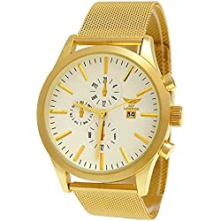 NY London Designer Mens Chronograph With Date Display-White & Gold with Watch Box