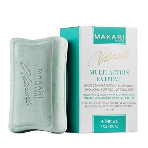 Makari Naturalle Multi-Action Extreme Haut Aufhellung Seife 7oz. - Peeling & Feuchtigkeitsspendende Seife mit Arganöl & SPF 15 - Feuchtigkeits- & Regulierungsbehandlung für dunkle Flecken, Akne-Narben -