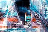 Poster 91 x 61 cm: Wuppertal Abtrakte Collage Skyline von