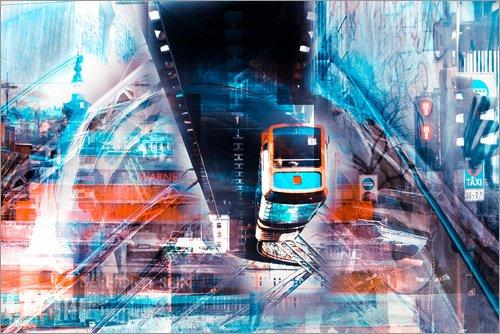 Leinwandbild 120 x 80 cm: Wuppertal Abtrakte Collage Skyline von Städtecollagen - fertiges...