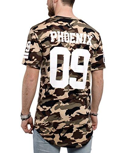Phoenix Allstar Oversize T-Shirt Herren Longshirt mit 09 Print Longline Tee Langes Stylisches Shirt - S M L XL Camo Woodland