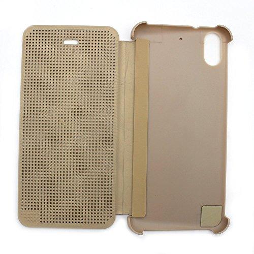 Defender Premium Best DOT VIEW Bumper Touch Flip Case Cover with Sensor for HTC Desire 626G Plus (626G+) - Gold