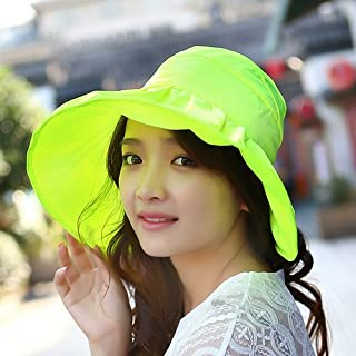 H-M-STUDIO Summer Sunshade capanti-Ultraviolet Sun capbrim Sunscreen capfoldable air-top Cool Cap,A,Fluorescein Yellow