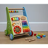 Wooden Baby Walker with Activity Center and Bricks- 9 Months Plus