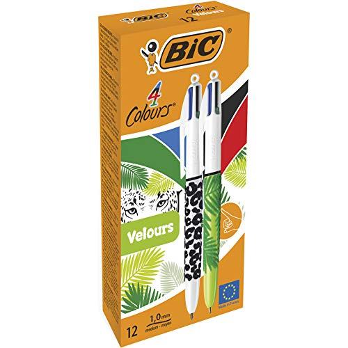BIC 4 colores Velours - Caja de 12 unidades, bolígrafo motivos Naturaleza punta media (1,0 mm)