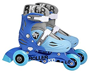 Stamp Sas-SKIDS Control Adjustable Two in One 3 Wheels Skate Size 27-30, Color Blue, (JB130227)