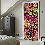 Peace Love Hippie Colorida flor Sandía Vinilo autoadhesivo Etiqueta de puerta extraíble...