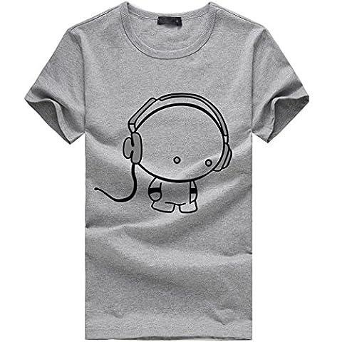 T-Shirt Homme, Oyedens jy10537i Manche Courte Imprimé T-shirt Sport Décontracté Tops Col Rond Tee Grande Taille (XXL, Gris)