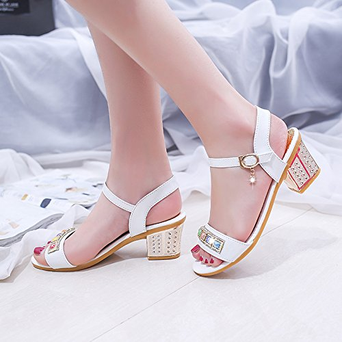 Estate moda donna sandali comodi tacchi alti White