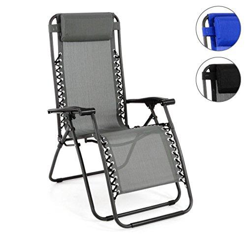 Liegestuhl Klappstuhl 162 x 65 112 cm Stahl Armlehne Kopfpolster Gartenstuhl verstellbar wetterfest bis ca. 100 kg Relaxstuhl Sonnenliege Farbe wählbar Schwarz Grau Blau (Grau) (Standbein Liege)