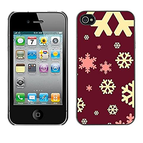 All Phone Most Case / Hard PC Metal piece Shell Slim Cover Protective Case Tasche Schutzhülle Hülle Für Apple Iphone 4 / 4S snowflake maroon brown yellow pink