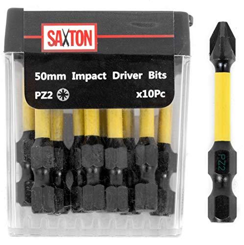 Saxton PZ2-50 mm Pozi-Drive 2 Schlagschrauber Schraubendreher, 10er Set in Tic-Tac Flip-Top-Box, Dewalt Milwaukee Bosch.
