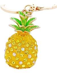 cdet Schlüssel Ring Sparkling Ananas Anhänger Spring Verschlüsse für Schlüssel Tasche Ornaments Frauen Geschenk, gelb