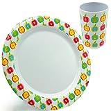 Unbekannt 8 TLG. Set _ Teller + Becher -  Bunte Blumen / Blüten - Äpfel  - Speiseteller / Melaminteller - Ø 25 cm - groß - FLACH - aus Melamin / Kunststoff Plastik - ..