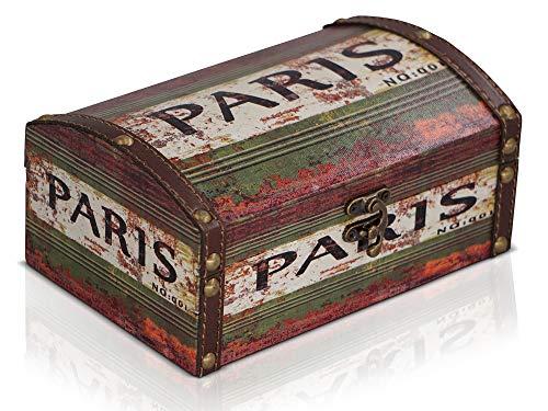 Brynnberg Caja de Madera 20x13x9cm - Cofre del Tesoro Pirata de Estilo Vintage - Hecha a Mano - Diseño Retro - joyero