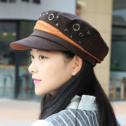 ZHANGYONG*Hüte weibliche Tide nieten Barette stilvollen Flachbild Kappe Brutto? Mode Kopfbedeckungen Frühling, M (56-58 cm), Deep Color Kaffee