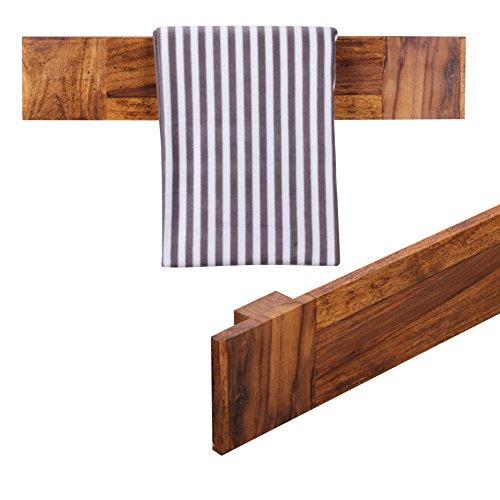 WOHNLING Handtuchhalter Massivholz Sheesham 80 cm Wand-Regal Landhaus-Stil Bad-Zubehör Badezimmer-Möbel Natur-Produkt Badregal Design Handtuchstönder Naturholz unbehandelt Badablage zum Aufhöngen