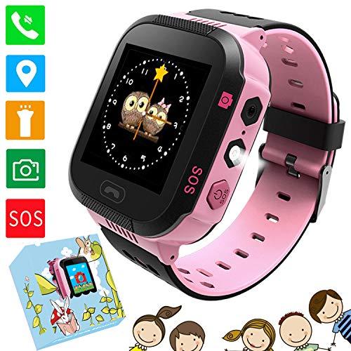 """Kids Smart Watches Phone - 1.4""""Montre à écran Tactile pour Enfants Phone Watch avec Appel SOS Voice Chat Camera Flash Alarm Jeux d'apprentissage Cadeaux Tchristmas pour garçons Filles 4-12 Ans (Rose)"""