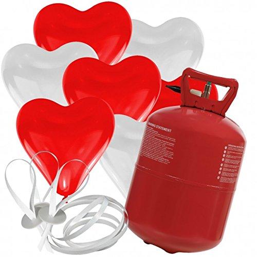 Preisvergleich Produktbild 30 Herz Luftballons freie Farbwahl mit Helium Ballon Gas Hochzeit Valentinstag Komplettset (Rot/Weiß)