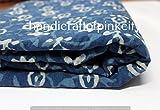 handicraftofpinkcity 5yard Indigo Stoff floral print