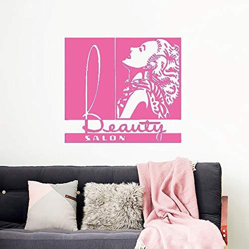 xingbuxin Wandtattoo Mädchen Haar Beauty Salon Dekoration Haarschnitt Frau Spa Vinyl Wandaufkleber Entspannen Mode Abnehmbare Art Decor 4 63x57 cm