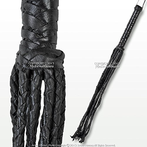 Medieval Gears Brand 24 Cat O Nine Tail Scourge Black Leather Whip w/ 9 Individual Braided Strands by Medieval Gears