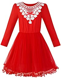 Sunny Fashion Girls Dress Long Sleeve Cotton Red Flower Christmas Dress Age 6-12 Years