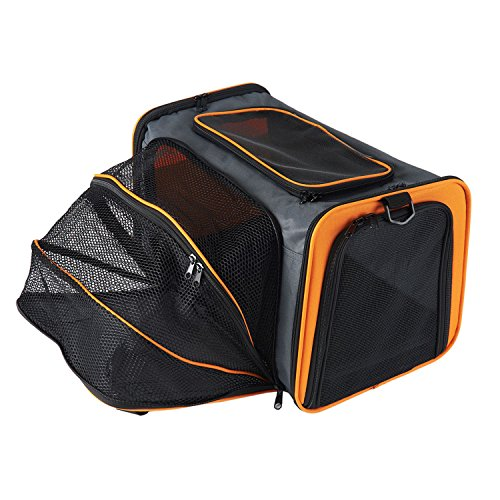 Bolso transportín expandible y plegable con laterales suaves para perros, gatos y otros animales, Tejido Oxford, Naranja, L Hold pet up to 20 lbs