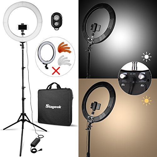 LED Ringlicht, Stageek 48cm(18inch) Kamera Foto SMD LED Ring licht, 60W 5600K BiColor Kamera Foto Video Beleuchtungsset mit Stativ Handyhalter für Smartphone Youtube Makeup Video Shooting
