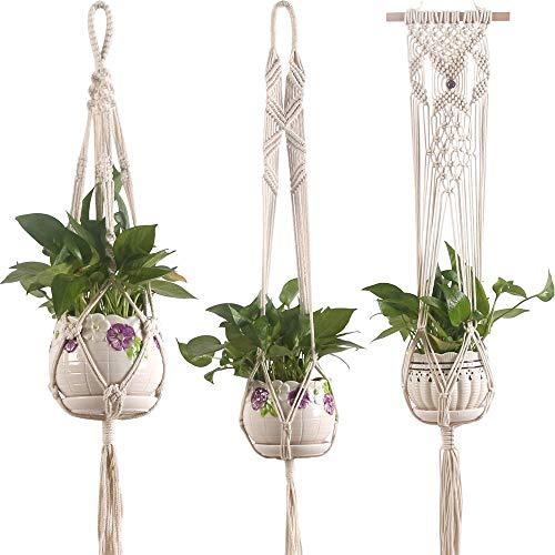 Lfives-hm Pflanzenhänger Macrame Plant Hanger Basket Liner Baumwollseil für Indoor Outdoor Dekorationen, 3er Set für Blumentopf Patio Deck Deckenpflanzenhalter (Farbe : Beige, Größe : Set of 3)