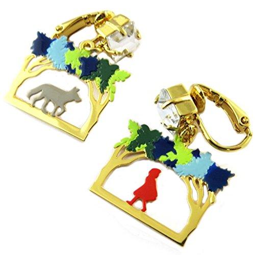 Pendientes clips caseros 'Monde Merveilleux'(caperucita roja)de oro multicolor - 30x20 mm.